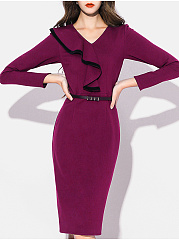 V-Neck  Contrast Trim  Plain Bodycon Dress