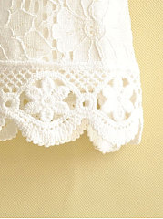 Chemisier Coton Decorative Lace Plain