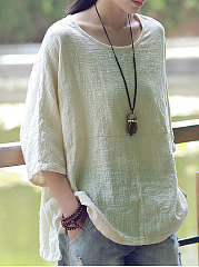 Spring Summer  Linen  Women  Round Neck  Plain  Three-Quarter Sleeve Blouses