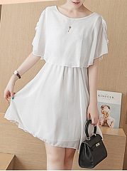 Round Neck Chiffon Hollow Out Plain Skater Dress