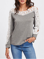 Boat Neck  Decorative Lace Patchwork See-Through  Plain Long Sleeve T-Shirts