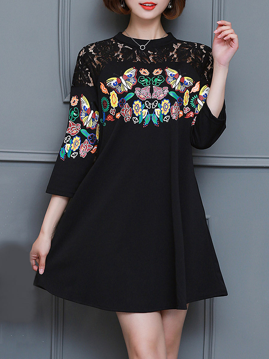 Band Collar Patchwork Hollow Out Printed Pocket Skater Dress