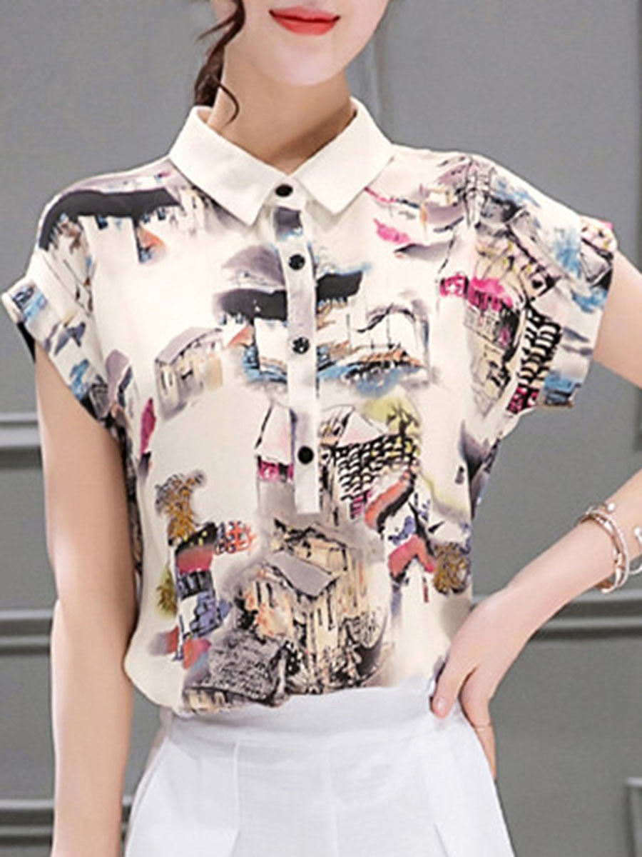 Polo Collar  Printed Short Sleeve T-Shirt