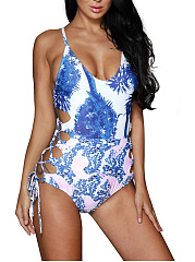 Spaghetti Strap Lace-Up Hollow Out Printed One Piece