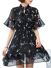 Tie Collar Floral Printed Hollow Out Chiffon Skater Dress