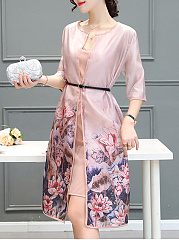 Collarless  Gradient Printed  Half Sleeve Shift Dresses