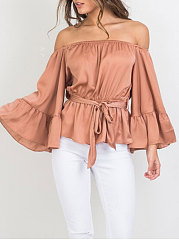 Spring Summer  Polyester  Women  Off Shoulder  Plain  Three-Quarter Sleeve Blouses