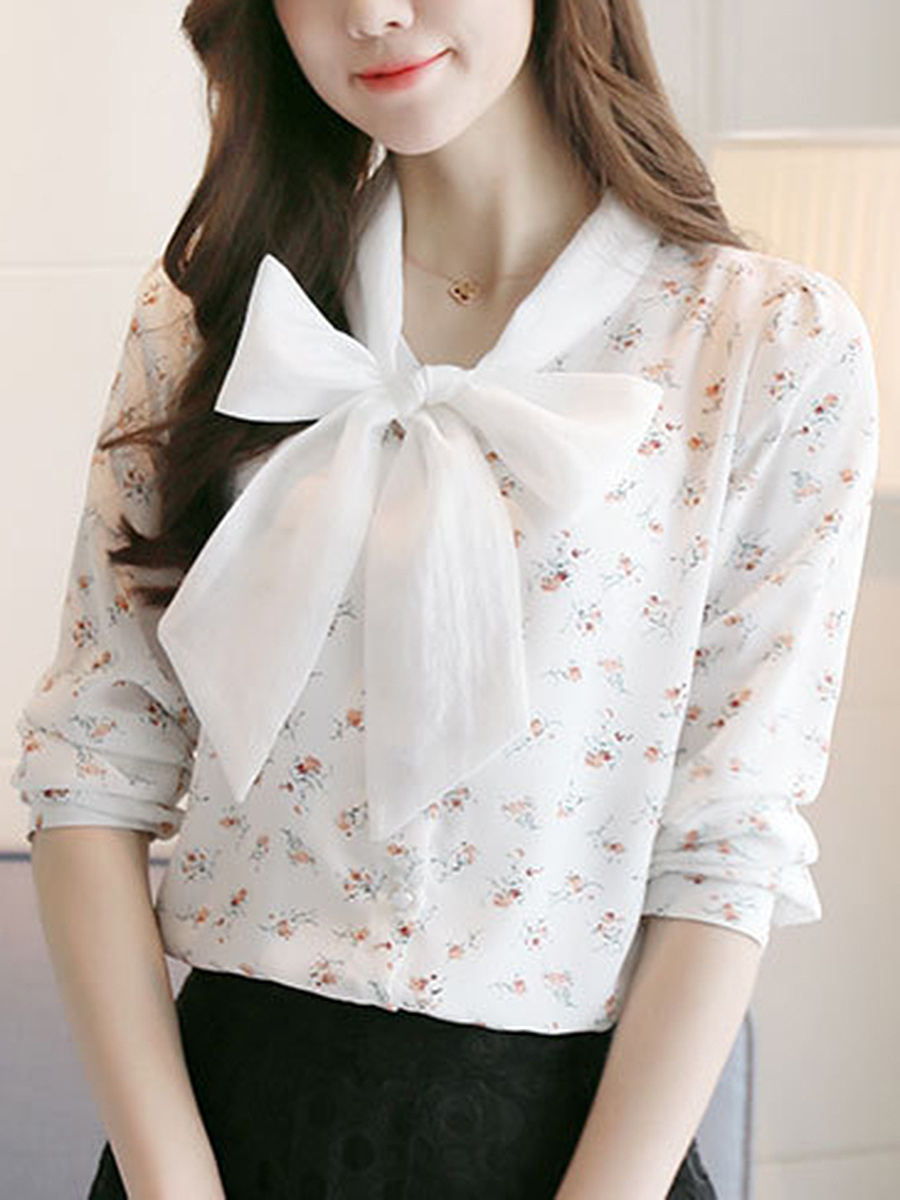 Tie Collar Bowknot Tiny Flower Printed Long Sleeve T-Shirt