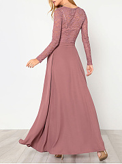 Round Neck  Bowknot  Lace Two-Piece Maxi Dress