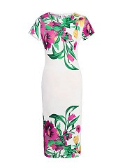 Round-Neck-Fancy-Floral-Printed-Bodycon-Dress