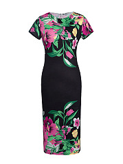 Round Neck Fancy Floral Printed Bodycon Dress