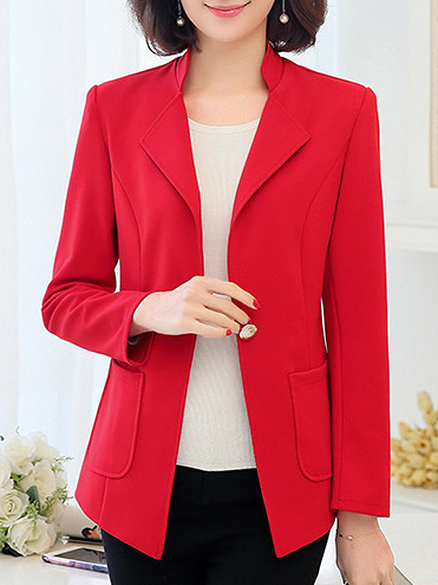 Lapel Plain Patch Pocket Single Button Blazer