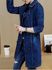Fold-Over Collar  Single Breasted  Decorative Hardware  Plain  Long Sleeve Trench Coats