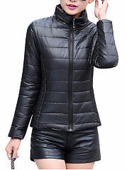 Fitted High Neck Quilted Plain Padded Coat