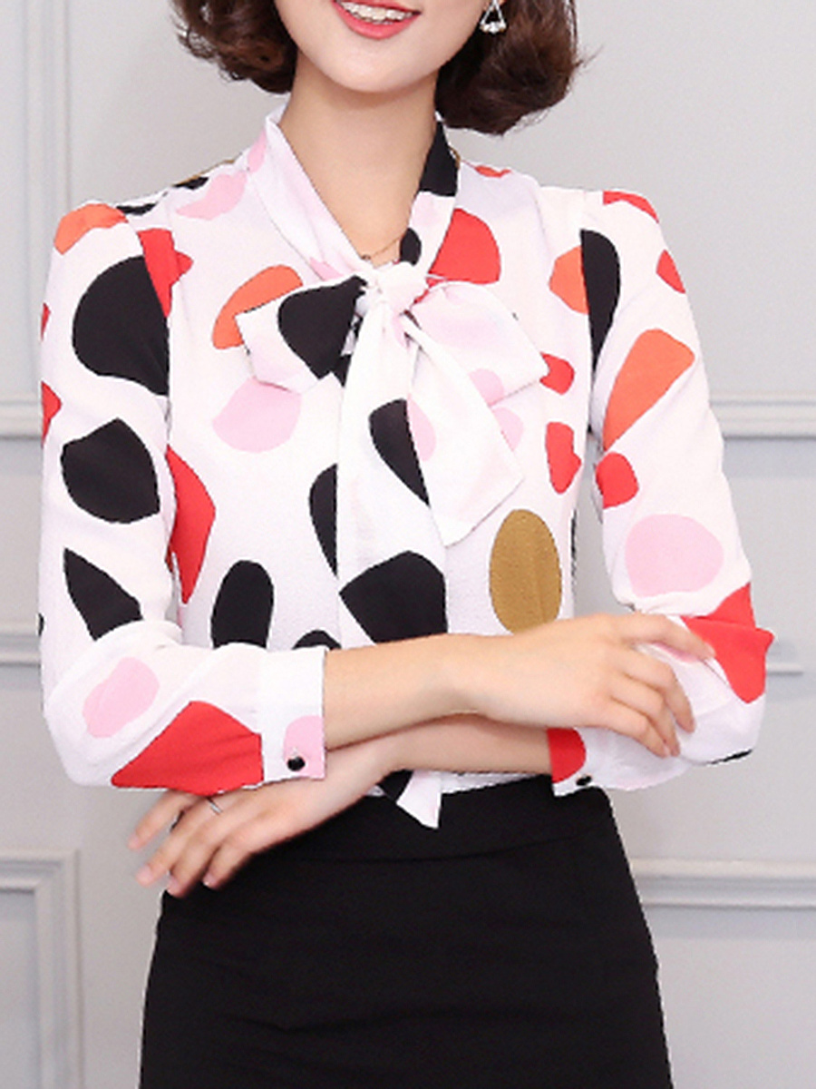 Tie Collar  Color Block Printed Chiffon Blouse