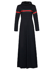 Cowl Neck  Contrast Trim  Plain Maxi Dress