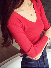 V-Neck  Plain  Long Sleeve Sweaters Pullover
