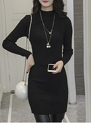 High Neck  Plain  Knitted Bodycon Dress