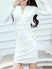 V-Neck  Decorative Button  Plain Bodycon Dress
