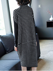 Turtleneck Houndstooth Knitted Batwing Maxi Dress