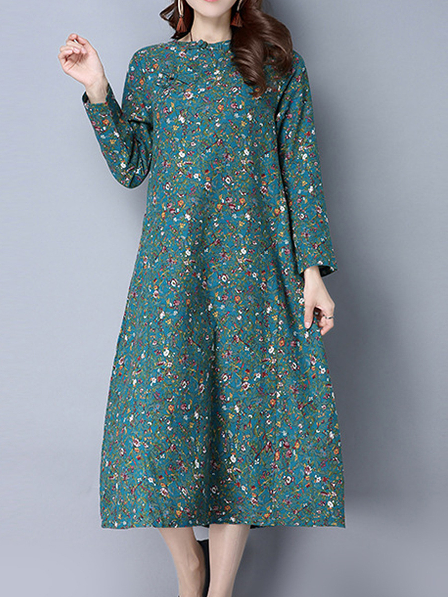 Crew Neck Slit Pocket Printed Charming Maxi Dress