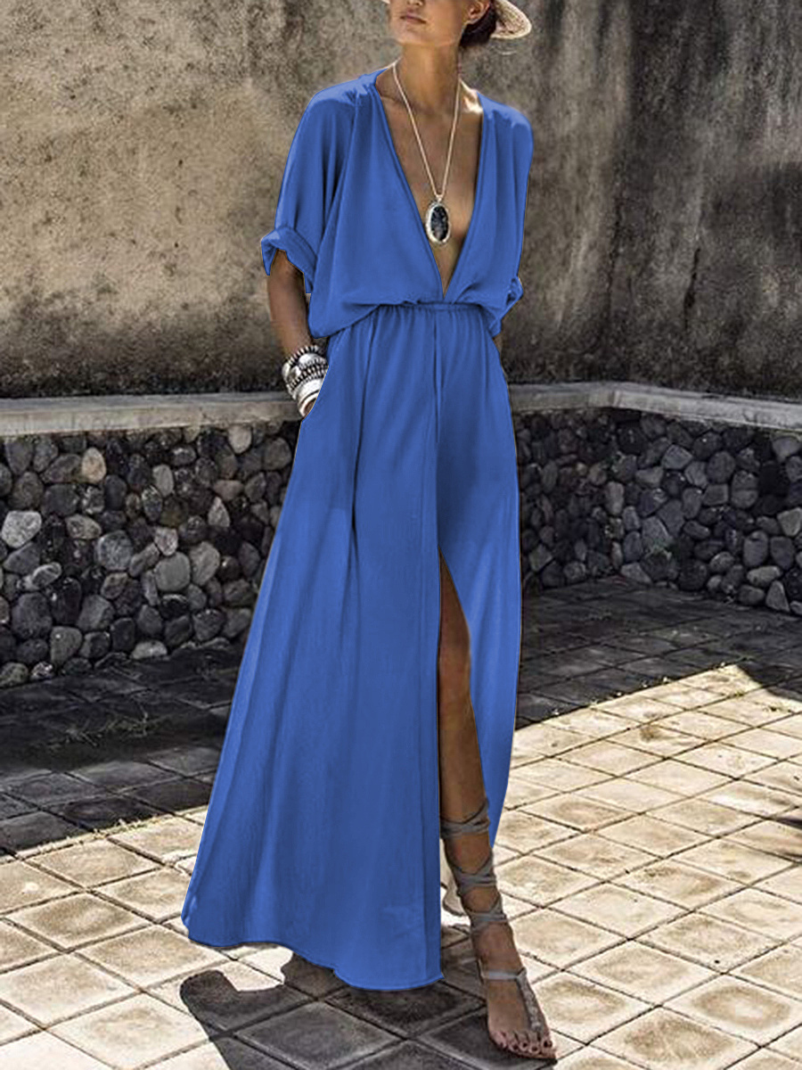 V-Neck  Elastic Waist  Plain Maxi Dress