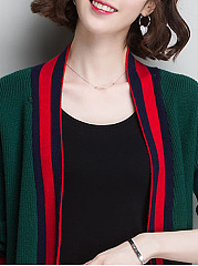 Loose Fitting  Stripes Knit Cardigans