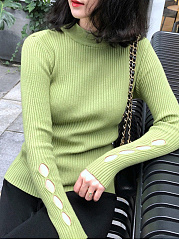 High Neck  Hollow Out Plain  Long Sleeve Sweaters Pullover