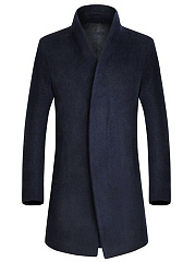 Band Collar Plain Pocket Men Woolen Coat