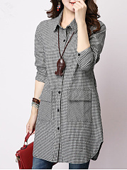 Plaid-Flap-Pocket-Curved-Hem-Shirt-Dress