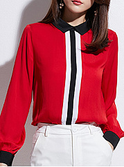 Autumn Spring  Women  Doll Collar  Contrast Piping  Plain  Long Sleeve Blouses