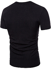 Deep V-Neck  Vertical Striped  Short Sleeve Short Sleeves T-Shirts