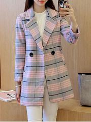 Lapel-Plaid-Longline-Pocket-Woolen-Coat