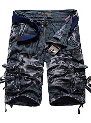 Flap Pocket  Printed Cargo  Shorts