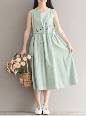 Round-Neck-Drawstring-Embroidery-Maxi-Dress