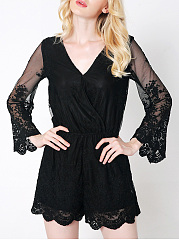 V-Neck-See-Through-Plain-Bell-Sleeve-Romper