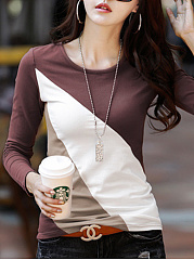 Color-Block-Round-Neck-Long-Sleeve-T-Shirt