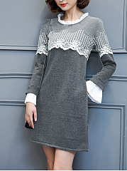 Round-Neck-Decorative-Lace-Bell-Sleeve-Shift-Dress