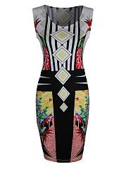 Unique-Round-Neck-Colorful-Printed-Bodycon-Dress