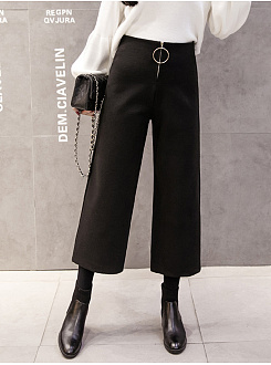 Hot Western Casual Straight Wide-Leg Silk Woolen Zipper Round Circle Pants