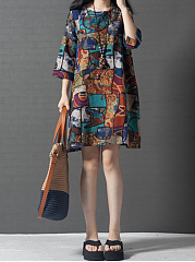 Round-Neck-Printed-CottonLinen-Shift-Dress