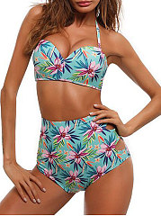 High Waist Hollow Out Printed Bikini