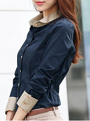 Summer  Polyester  Women  Turn Down Collar  Bowknot Single Breasted  Plain  Long Sleeve Blouses