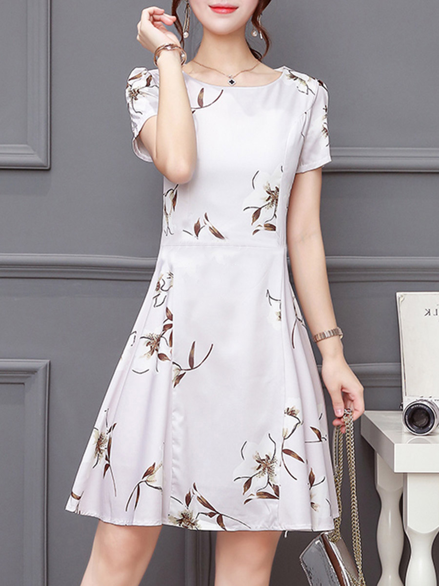 casual floral printed date summer flared Round Neck Floral Printed Skater Dress