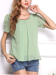 Summer  Chiffon  Women  Round Neck  Patchwork  Decorative Hardware  Plain  Puff Sleeve  Short Sleeve Blouses