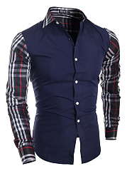 Plaid-Color-Block-Turn-Down-Collar-Men-Shirts