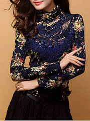 High Neck  Floral Hollow Out Blouse