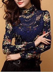High-Neck-Floral-Hollow-Out-Blouse