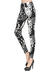 Black White Floral High-Rise Legging
