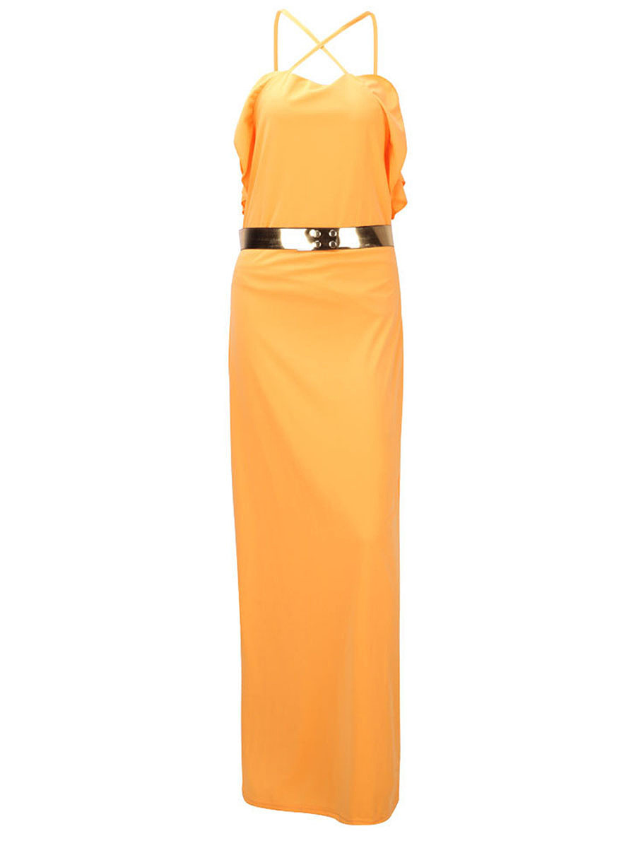 Spaghetti Strap Flounce Belt Plain X-Back Maxi Dress